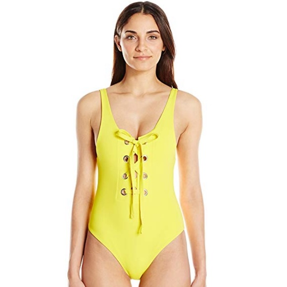 Mara Hoffman Other - Mara Hoffman Yellow Lace Up Maillot Swimsuit